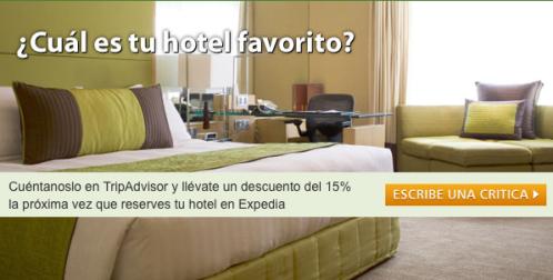 Escribe una crítica en TripAdvisor.es y obtén un descuento del 15% en Expedia.es